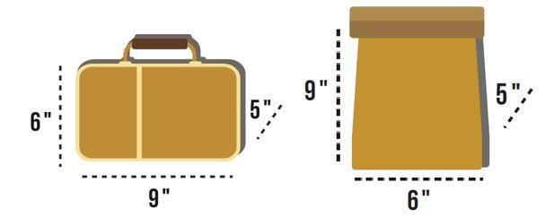 """Non-transparent lunch kits no larger than approximately 6"""" x 9"""" x 5"""" (see examples) are permitted to be carried."""