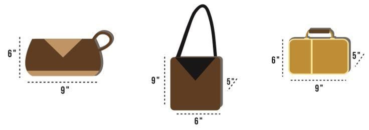 """Students must limit non-transparent 6"""" x 9"""" bags (lunch kits, purses, pouches) to two bags (see examples), regardless of whether they are carried inside or outside the backpack."""