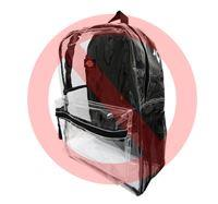 Clear backpack with padded backs are not allowed