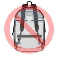 Clear backpacks with stripes in any location are not allowed