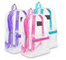 Clear backpacks with colored straps are allowed